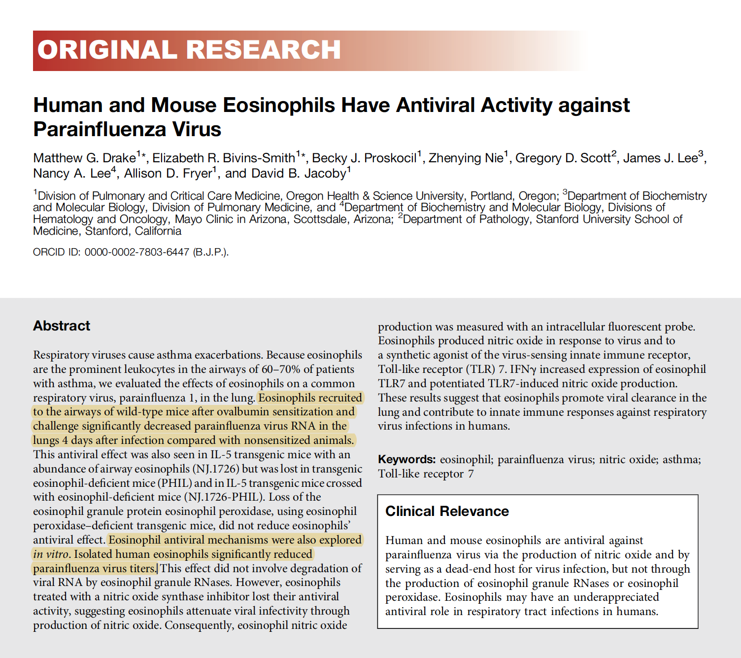 Human and Mouse Eosinophils Have Antiviral Activity against Parainfluenza Virus